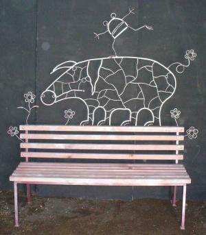 Кованая скамейка свинья, ручная ковка