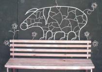 Кованая скамейка свинья